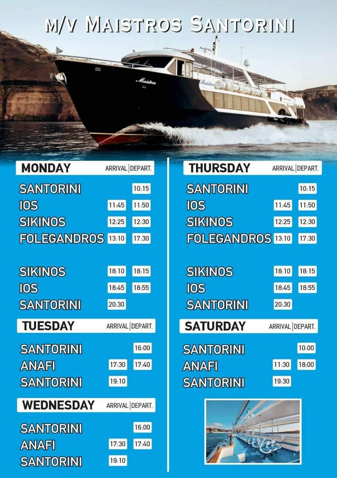 Δρομολόγια M/V Maistros Santorini
